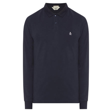 Embroidered Logo Long Sleeve Polo Shirt Navy