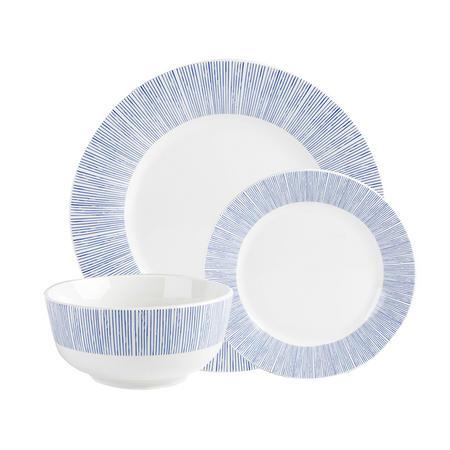 Bali 12 Piece Dinner Set Blue/White