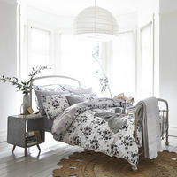 Cottonsoft Sprig Print Duvet Cover Set Grey