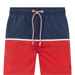 Colour Block Swim Shorts Red