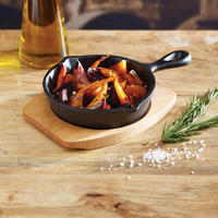 Artesa Round Cast Iron Small Fry Pan with Board Black