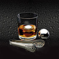 BarCraft 3 Piece   Ice Balls, Tongs and Storage Bag Stainless Steel