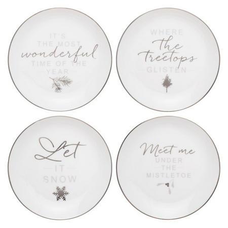 Snowshill Tea Plates White / Silver Dia.16cm