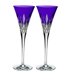 Lismore Pops Toasting Flute Pair Purple