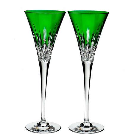 Lismore Pops Toasting Flute Pair Emerald
