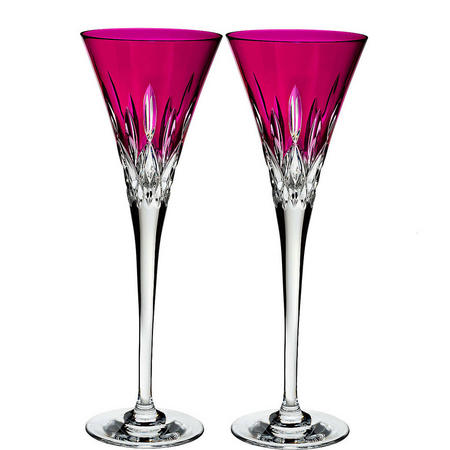 Lismore Pops Toasting Flute Pair Pink
