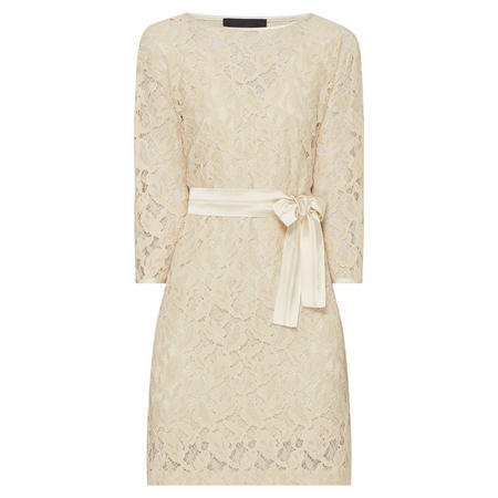 Embroidered Lace Dress Beige