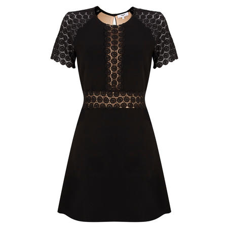 Lace Fit and Flare Dress Black