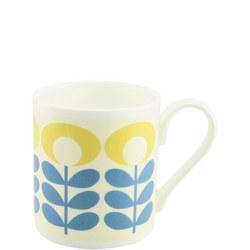 Flower Oval Mug Blue