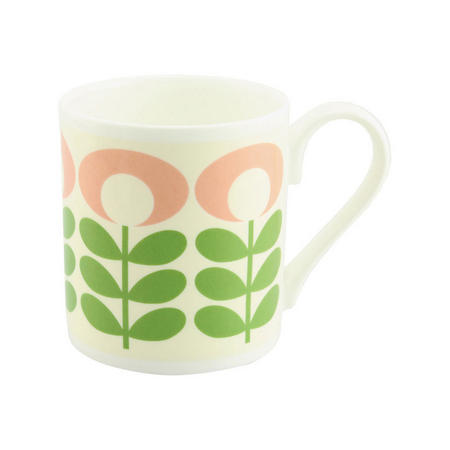 Flower Oval Stem Mug Green