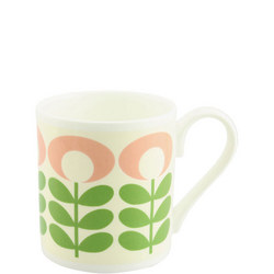 Flower Oval Stem Mug Green