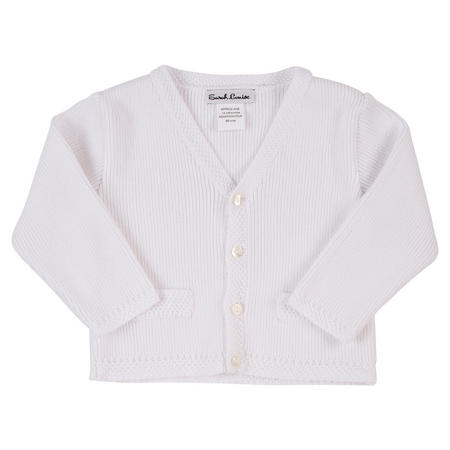 Baby Boys Rib Knit Cardigan White