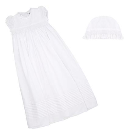 Cotton Smock Christening Robe White