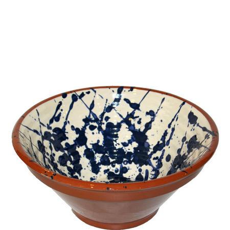 Blue Splatter Ribbed Bowl 25 cm