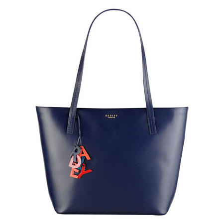 Leather Tote Bag Blue