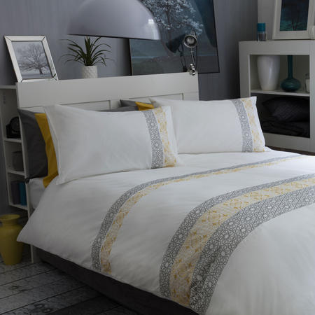 Eton Duvet Cover Set White/Yellow