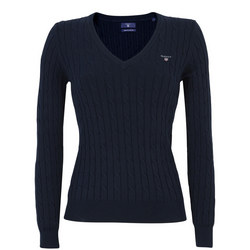 V-Neck Cable Knit Sweater Navy