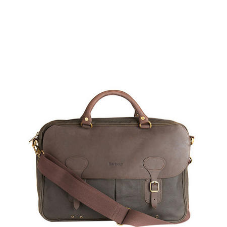 Waxed Leather Briefcase Green