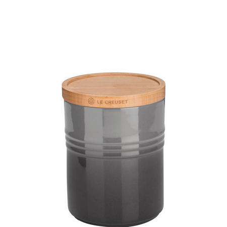 Stoneware Medium Storage Jar With Lid Flint