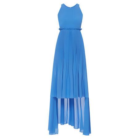 Crepe Sleeveless High Low Dress Blue