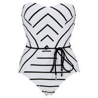 Castaway Stripe Bandeau One-Piece Swimsuit White