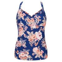 Vintage Wildflower Tankini Swim Top Blue