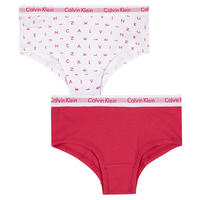 Two-Pack Alphabet Girls' Shorty Briefs White
