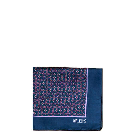 Chained Silk Pocket Square Navy