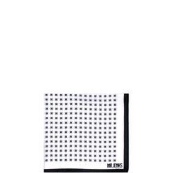 Circle Dot Silk Pocket Square White