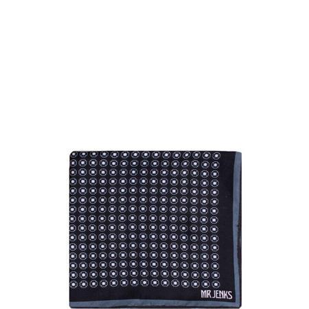 Circle Silk Pocket Square Black