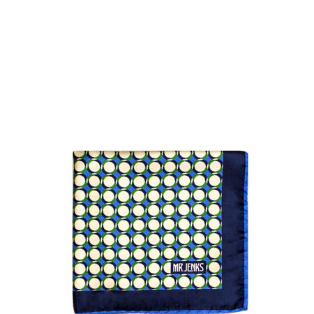 Geometric Circle Silk Pocket Square Blue