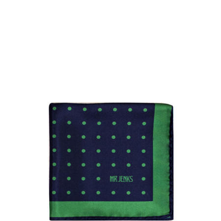 Green Polka Dot Silk Pocket Square Multicolour