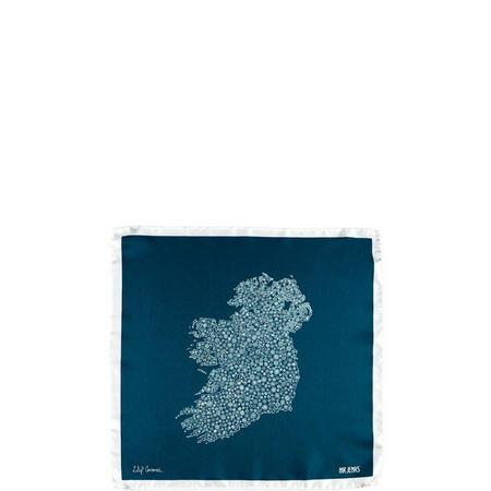 Ireland in Bloom Silk Pocket Square Blue