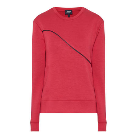 Contrast Detail Sweatshirt Red
