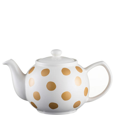 Gold Spot Cream Teapot For 6