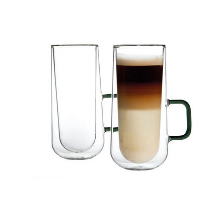 Double Wall Set Of 2 Latte Mugs Clear
