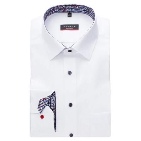 Printed Trim Formal Shirt White