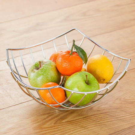 Wire Square Fruit Basket 24Cm Stainless Steel