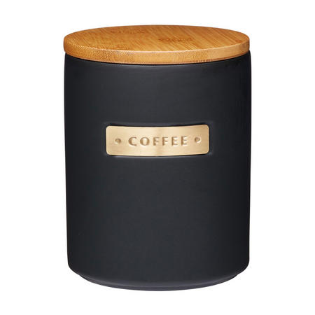 Master Class Stoneware & Brass Effect Coffee Canister with Lid Black