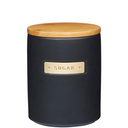 Master Class Stoneware & Brass Effect Sugar Canister with Lid Black