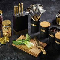 Master Class Stoneware & Brass Effect Utensil Holder Black