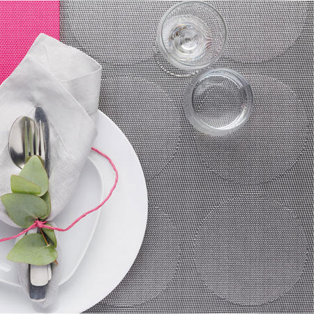 Woven Reversible Grey Spot Placemat Grey