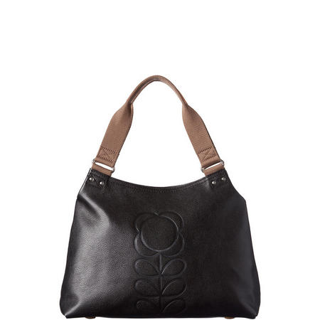 Embossed Flower Leather Shoulder Bag Black