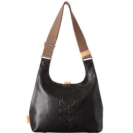Embossed Flower Leather Midi Shoulder Bag Black