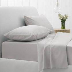 500tc Cotton Sateen Fitted Sheet Silver