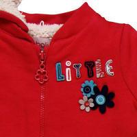 Baby Little Flower Hooded Fleece Red