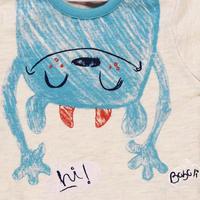 Baby Monster Print T-Shirt Cream