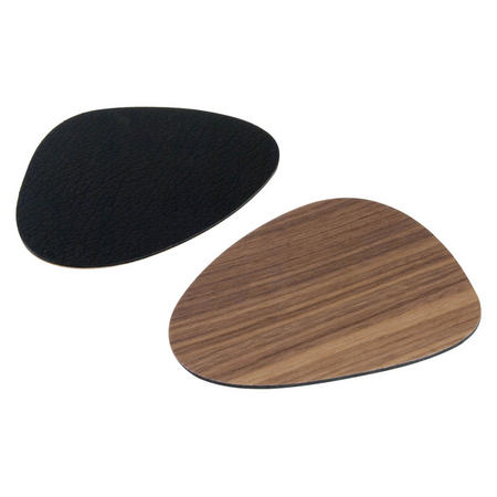 Double Sided Table Coaster Small Curve Black Leather & Walnut Wood