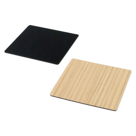 Double Sided Coaster Small Square Leather & Oak Wood