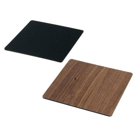 Double Sided Coaster Small Square Leather & Walnut Wood
